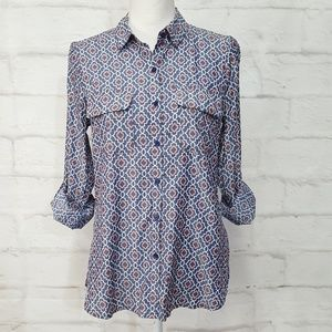 express Tops - Express The City Shirt Blue White Small